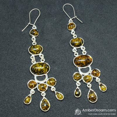 Chandelier green amber earrings at amberdream chandelier green amber earrings aloadofball Image collections
