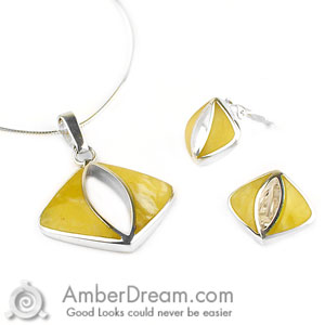 5c358d54e1 Designer Yellow Amber Jewelry Set at AmberDream.com